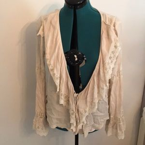 Cream and Lace Front Tie Shirt